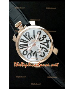 GaGa Milano Reloj Manual con Carcasa de Oro Rosa - Números en Negro