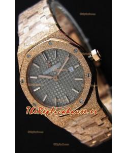 Audemars Piguet Royal Oak Frosted Reloj Réplica 1:1 de Cuarzo Suizo en Oro Rosado y Dial Gris 33MM