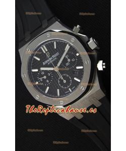 Audemars Piguet Royal Oak Reloj Réplica Suizo Cronógrafo Dial Negro Correa de Goma