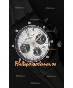 Audemars Piguet Royal Oak Reloj Réplica Suizo Cronógrafo Dial Plateado Subdiales color Negro