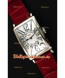 Franck Muller Long Island Ladies Reloj Réplica con Movimiento de Cuarzo Suizo correa color Rojo