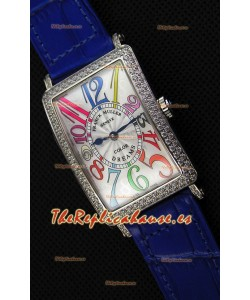 Franck Muller Long Island Color Dreams Ladies Reloj Réplica Suizo - Correa color Azul
