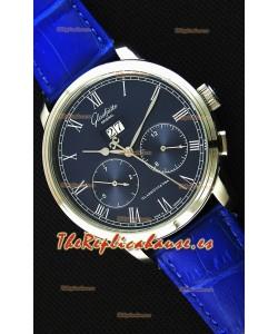 Glashuette Dual Sub Dial Reloj Réplica Japonés en Dial Azul