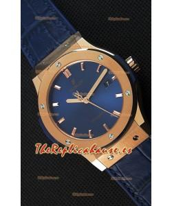 Hublot Classic Fusion Reloj Réplica Suizo en Oro King color Azul - Réplica a Espejo 1:1