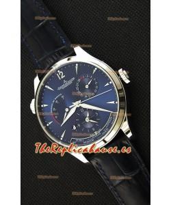 Jaeger LeCoultre Master Geographic Indicador de Reserva de Energía Caja de Acero Dial de Acero en color Azul Reloj Réplica Suizo