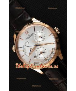 Jaeger LeCoultre Master Geographic Indicador de Reserva de Energía Caja de Acero chapada en Oro Dial de Acero en color Blanco Reloj Réplica Suizo