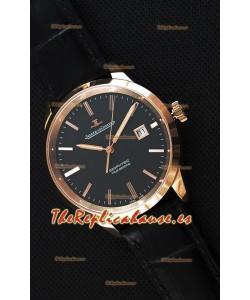 Jaeger LeCoultre Geophysic True Second Reloj Réplica Suizo en Oro Rosado Dial en color Negro