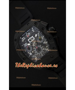 Richard Mille RM011-FM Felipe Massa Reloj de Caja de Carbón color Negro Forjado de una Sola pieza en Correa negra