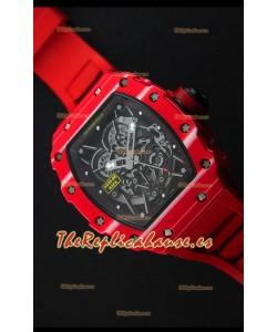 Richard Mille RM35-02 Caja de Carbón Forjado de una sola Pieza color Rojo con Correa color Rojo