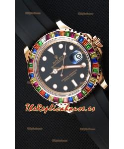 Rolex Yachtmaster 116695 Último Reloj Réplica a Espejo 1:1 - Oro Everose en Diamantes