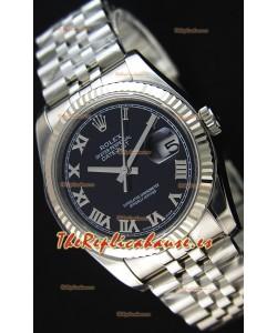 Rolex Datejust 36MM Cal.3135 Movement Reloj Réplica Suizo Dial Negro Jubilee Strap - Ultimate 904L Steel Watch