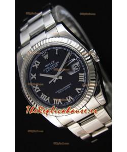 Rolex Datejust 36MM Cal.3135 Movement Reloj Réplica Suizo Dial Negro Oyster Strap - Ultimate 904L Steel Watch