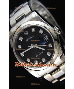 Rolex Datejust 36MM Cal.3135 Movement Reloj Réplica Suizo con Dial Impreso color Negro