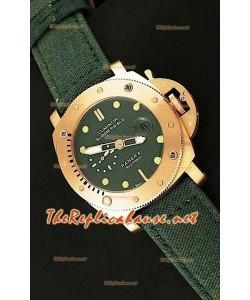 Panerai Lumenor Reloj de Oro Rosa Sumergible con Esfera Verde - 47MM