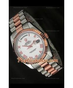 Rolex DayDate Reproducción Reloj Suizo en Dos Tonos de Oro Rosa
