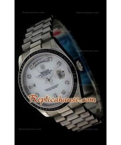 Rolex DayDate Reproducción Reloj Suizo con Esfera Perla