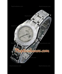 Rolex Datejust Reproducción Reloj Suizo para Señoras con Esfera Gris y Números Árabes
