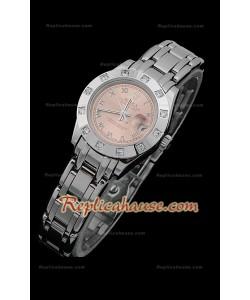 Rolex Datejust Reproducción Reloj Suizo para Señoras en Esfera Champagne