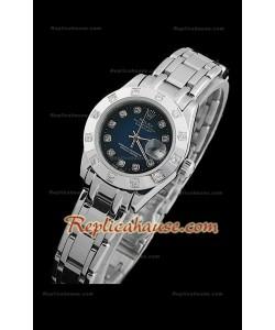 Rolex Datejust Reproducción Reloj Suizo para Señoras con Esfera Azul Oscuro y Marcadores de Hora en Diamantes