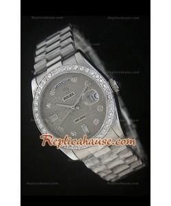 Rolex  DayDate Reproducción Reloj Suizo con Esfera Impresa Gris