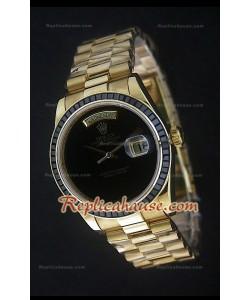 Rolex DayDate Reproducción Reloj Suizo en Oro Amarillo y Esfera de color Negro
