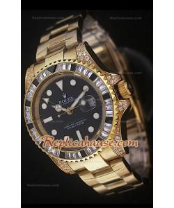 Rolex GMT Masters II Reproducción Reloj Suizo en Oro Amarillo y Diamantes