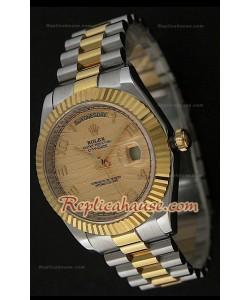 Rolex Replica Daydate Reloj Japonés Dos Tonos con Esfera de Oro