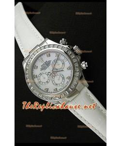 Rolex Daytona Reloj Cosmógrafo con Movimento Suizo 7750 en Blanco y Correa de Piel