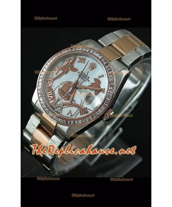 Reloj japonés Rolex Datejust para damas con estuche en dos tonos