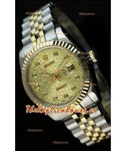 Rolex Réplica Datejust Mens Reloj Suizo Esfera Dorada – 41MM