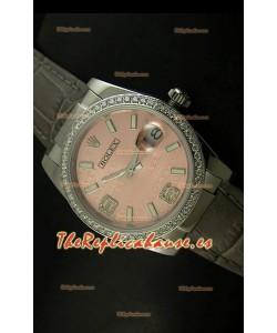 Rolex Réplica Datejust Reloj Suizo – 37MM - Carcasa Champaña/Malla Gris