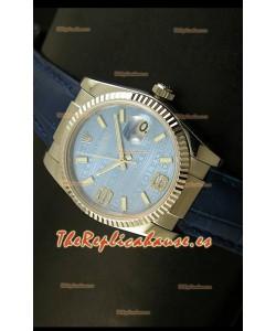 Rolex Réplica Datejust Reloj Suizo – 37MM - Carcasa Azul/Malla