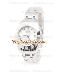 Datejust Rolex Reloj Suizo de imitación en acero inoxidable y Dial Blanco - 34MM
