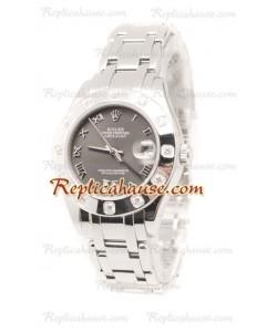 Datejust Rolex Reloj Suizo de imitación en acero inoxidable y Dial Gris - 34MM