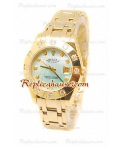 Pearlmaster Datejust Rolex Reloj Suizo en Oro Amarillo y Dial color Perla - 34MM