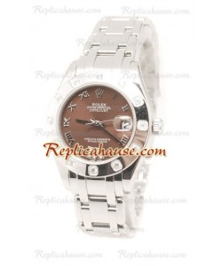Datejust Rolex Reloj de imitación Japonés en acero inoxidable y Dial Marrón - 34MM