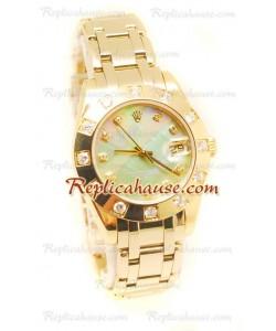 Pearlmaster Datejust Rolex Reloj Japonés en Oro Amarillo y Dial color Perla - 34MM
