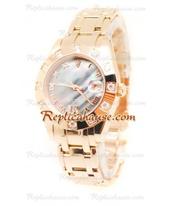 Pearlmaster Datejust Rolex Reloj Suizo en Oro Rosa y Dial color Perla - 34MM