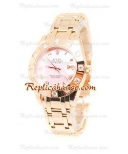 Pearlmaster Datejust Rolex Reloj Suizo en Oro Rosa y Dial rosa perlado - 34MM