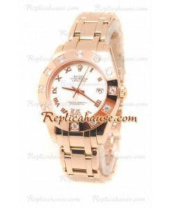 Datejust Rolex Reloj Suizo de imitación en Oro Rosa y Dial Blanco - 34MM