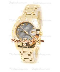 Pearlmaster Datejust Rolex Reloj Suizo en Oro Amarillo y Dial gris color Perla - 34MM