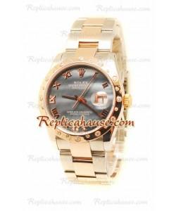 Datejust Rolex Reloj Suizo de imitación en dos tonos Oro Rosa y Dial Gris - 36MM