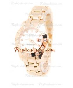 Pearlmaster Datejust Rolex Reloj Japonés en Oro Rosa con Dial Color Perlado - 34MM