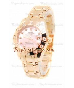 Pearlmaster Datejust Rolex Reloj Japonés en Oro Rosa con Dial Rosa Perlado - 34MM