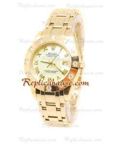 Pearlmaster Datejust Rolex Reloj Japonés en Oro Amarillo con Dial Verde Perlado- 34MM