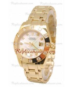 Pearlmaster Datejust Rolex Reloj Japonés en Oro Amarillo con Dial Color Perlado - 34MM