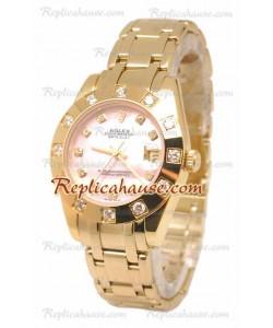 Pearlmaster Datejust Rolex Reloj Japonés en Oro Amarillo con Dial Rosa Perlado - 34MM