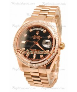 Rolex Day Date II Dial Negro Rose Gold Reloj Suizo Bisel de diamantes in 43MM