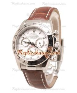 Rolex Daytona Cuero Suizo Reloj cen el dial Blanco y Brown Correa de cuero