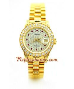 Rolex Réplica Datejust Dama Gold -Dial diamante Reloj